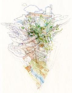 'tokiore(I)mix', 2011  pencil and watercolor on paper, 33,3 x 21,2 cm  image © akira yamaguchi