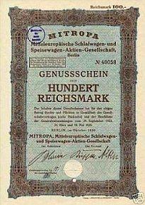 Geschichte der Mitropa, Gründung Mitropa, Mitropa in den 20er Jahren, Rheingold