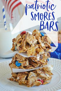 Easy and delicious Patriotic Smores Bars- like rice krispy treats, but better! These are sooo good!