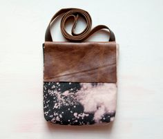 H A N D DYED and Leather Cross Body Shoulder Purse. Bleach black and Brown Leather Bag. $90,00, via Etsy.