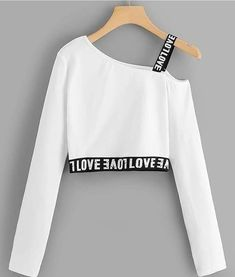 """The post """"Letter Print Crop TeeFor Women-romwe"""" appeared first on Pink Unicorn Ropa Girls Fashion Clothes, Teen Fashion Outfits, Mode Outfits, Cute Fashion, Outfits For Teens, Girl Outfits, Fashion Styles, Teen Girl Clothes, Fashion Dresses"""
