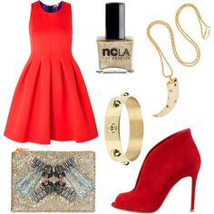 """Red and gold"" by stockholmmarket on Polyvore"