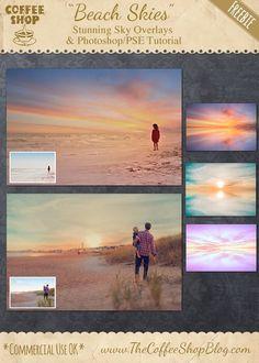 "FREE The CoffeeShop Blog: CoffeeShop""Beach Skies"" Overlay Set and Photoshop/PSE Tutorial!"