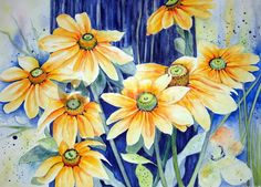 """ Rudbeckia"" Painting art prints and posters by Maria Inhoven - ARTFLAKES.COM"