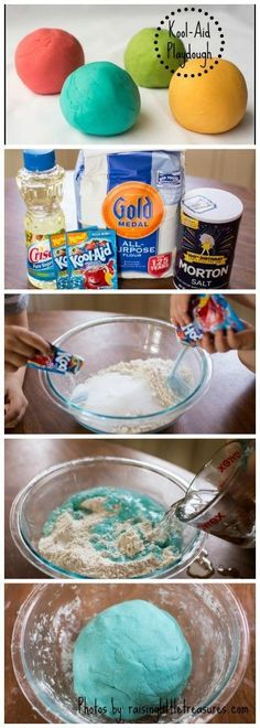 Make easy homemade play-dough with cool colors, using kool-aid! Only a few ingredients, and kids can help make it too.