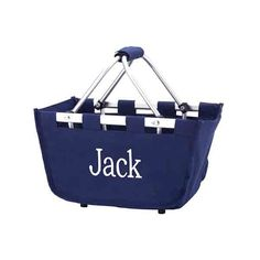 Collapsible Personalized Mini-Market Tote in Navy
