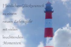 Geburtstag - Geburtstagskarte Leuchtturm - ein Designerstück von Gabriele-Jentsch bei DaWanda