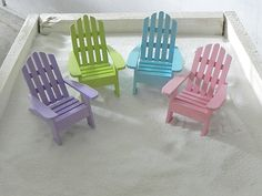 ONE Miniature Adirondack Chair Beach Diorama Cake Topper Wedding Supplies  Green   Blue   Pink   Lilac   White   Supply By TheLittleHedgerow On Etsy  ...