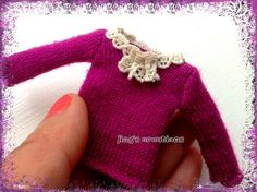 love this wearable dollhouse miniature pink lace collar sweater for 1/12 scale dolls by Jings Creations