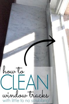 WINDOW TRACK CLEAN - sprinkle baking soda in track, eye dropper some vinegar over the baking soda. Once bubbling has stopped wipe away.