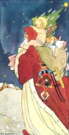 Vintage Father Christmas Post Card:: By Artist Ric Cramer.. .