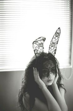 Holy Shiznit, what are we going to do with these motha's....Bunny ear black lace mask / headband by visala on Etsy, $35.00