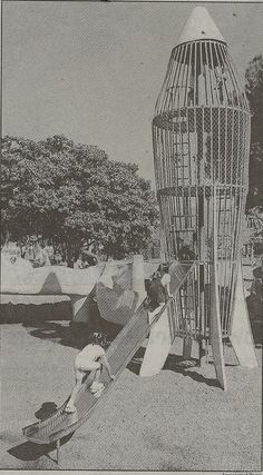 """The """"Googie"""" style rocket-ship jungle gym at Brookhurst Park, Anaheim, California. From the L.A.Times, May 11, 1999. This structure has since been removed. It did not meet modern child safety codes."""