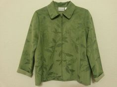 Alfred Dunner - Women's Jacket Faux Suede Size 10 (Green Floral) Front Zipper #AlfredDunner #BasicJacket ..... Visit all of our online locations ..... (www.stores.eBay.com/variety-on-a-budget) ..... (www.amazon.com/shops/Variety-on-a-Budget) ..... (www.etsy.com/shop/VarietyonaBudget) ..... (www.bonanza.com/booths/VarietyonaBudget ) .....(www.facebook.com/VarietyonaBudgetOnlineShopping)
