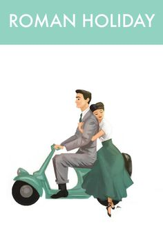 Roman Holiday Print (Audrey Hepburn and Gregory Peck on a scooter/ vespa) Illustration by ranibean