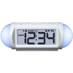 College alarm clock that functions as a sound machine, mood light, and MP3 player