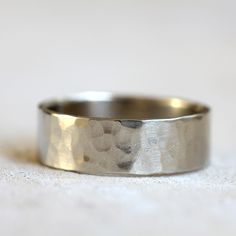 14k white gold hammered ring from Praxis Jewelry