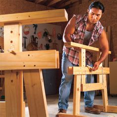 5 projects for a better shop—adjustable sawhorses, a super-handy tool rack, a workbench with storage space, a miter saw stand and a silencer for your shop vacuum. They're all low cost, can be built in a day and are essential for the small shop.