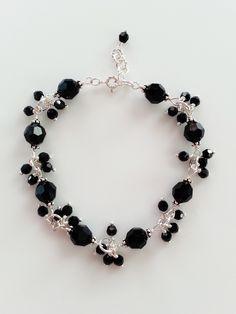 Black Crystal and Sterling Silver Bracelet