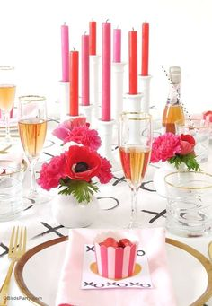 Gorgeous Valentine's Day party! See more party planning ideas at CatchMyParty.com!