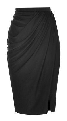Black Draped Pencil Skirt (with shirt buttoned up to)  #juicy_tips