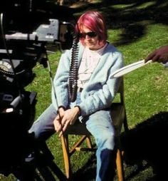 Kurt Cobain while filming Come As You Are