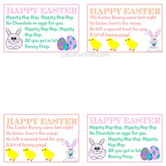 Full sheet of bunny poop tags photo free to print for personal happy easter bunny poop gift tags free printables negle Choice Image