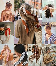 Lazy Day Hairstyles, Bandana Hairstyles, Hair Scarf Styles, Curly Hair Styles, Bad Hair, Hair Day, Scarf Updo, Hairdo For Long Hair, Aesthetic Women