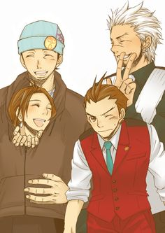 Phoenix, Apollo, Trucy, and Athena: Simply Family Apollo Justice, Phoenix Wright, Anime Life, Great Videos, Yandere, Best Games, Cool Art, The Past, Animation