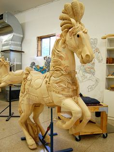 Unfinished Carousel Horse :: The Albany Brass Ring Historical Carousel and Museum, Albany, Carrousel, Carosel Horse, Wooden Horse, Painted Pony, Merry Go Round, Art Carved, Pretty Horses, Horse Art, Amusement Park