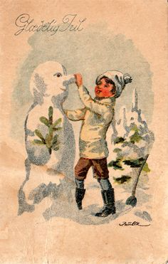 Antique Snowman Postcard... Norwegian postcard.