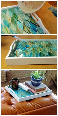Make an old tray into a gorgeous decorative mosaic tray using just about ANYTHING as the mosaic! {Sawdust & Embryos}