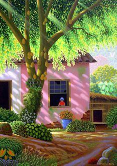 Young Girl Reading a Story by Edivaldo Barbosa de Souza - GINA Gallery of International Naive Art Landscape Art, Landscape Paintings, Illustration Art, Illustrations, Caribbean Art, Tropical Art, Naive Art, Beautiful Paintings, All Art