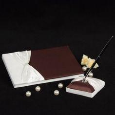 elegant und Schokolade Hochzeit Gästebuch und Pen-Set
