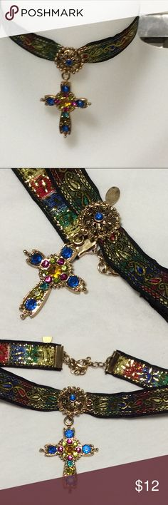 Colorful cross pendant ribbon choker necklace new One only, beautiful tapestry ribbon choker with gold accent 14-16 inches long with lobster clasp and extender. Jewelry Necklaces