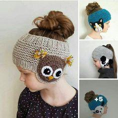 Bandeau fille - Her Crochet Crochet Baby Hats, Crochet Beanie, Crochet For Kids, Easy Crochet, Free Crochet, Knitted Hats, Knit Crochet, Crochet Headbands, Knitted Headband