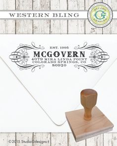 Return Address Stamp  .75 x 2.5 in WESTERN BLING by studioGdesigns