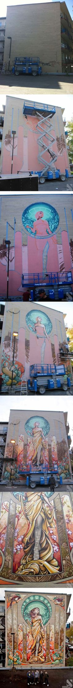 """Wall mural in Montreal by graffiti group """"A'Shop"""""""