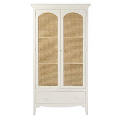 Armoire DEBBIES 2 portes 1 tiroir blanc cassé cannage en rotin - 😍Découvrir ici - #armoire #tendances #Maisonsdumonde #meubles #rangement