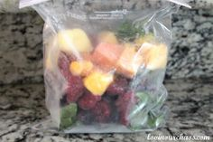 Fruit and Veggie Smoothie recipe. I love her idea to pre-bag things to make it easier to make them on the go! Brilliant!