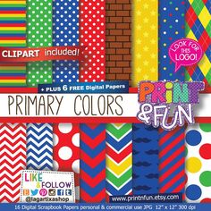 Colors Patterns Digital Paper, Red, Blue, Yellow, Green, Brick Background, Chevron, Stars, Mustaches, Large Dots, Stripes, Argyle