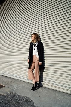 COS crop flare pants, Kenneth Cole trench