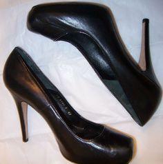 Te Casan Gaetano Perrone Black Leather Heel Pump Shoe 11 (41EU).  $38