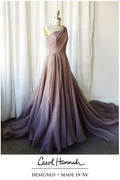 Non-traditional wedding or evening gown in iridescent purple and bronze layered organza. One shoulder flowy, soft ballgown with unique low keyhole back. Designer runway wedding and evening dress. Nontraditional wedding ideas for the modern, ethereal, whimsical bride.