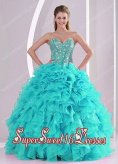 Elegant Aqua Blue Ball Gown Sweetheart Ruffles and Beaded Decorate Simple Sweet Sixteen Dresses in Sweet 16