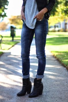 Black Booties | Cuffed Blue Jeans | Black Leather Jacket | Gray Tee . jovialjessi