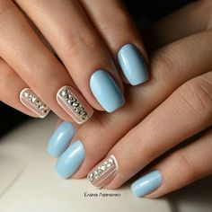 Light Blue Nude Shade with Diamonds. Nudes with white + perfect combination!