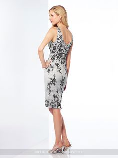 Social Occasions By Mon Cheri 117804 - Two-piece satin dress set, sleeveless knee-length sheath with front and back V-necklines, lace motifs on bodice scatter down skirt, and center back slit, matching jacket with three-quarter length sleeves, lace motif waist and two covered buttons included.