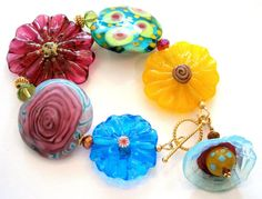 Colorful! Over the Rainbow Glass Lampwork Bead Bracelet by Beadoire via Esty