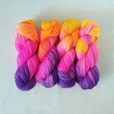 Hand Dyed Yarn - JEM GIRL - Truly Outrageous Neon Superwash Merino/Nylon Fingering Weight Yarn